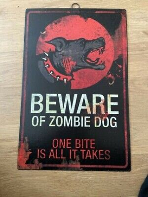 Rusty Metal Tin Signs Kitchen Funny Pub Club Beware Zombie Dog Vintage Poster