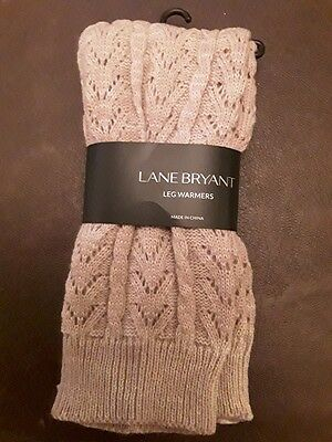 Lane Bryant Leg Warmers TAUPE Winter Cable Knit Ribbed Cuffs NEW TAGS PLUS SIZE
