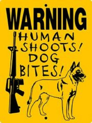 Warning Belgian malinois aluminum dog sign  9 x 12