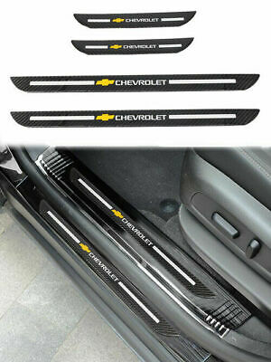 4Pcs Carbon Fiber Red Car Door Welcome Plate Sill Door Scuff Cover Panel Sticker