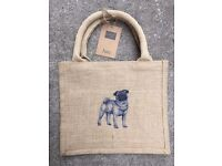 PUG BAG. SINGLE PUG EMBROIDERY & YOUR PERSONALISATION ON A HESSIAN JUTE TOTE BAG