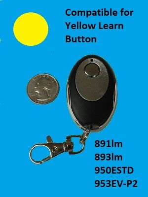 LiftMaster Garage Door Opener Key Chain Remote Transmitter Yellow Learn 1 Button ()