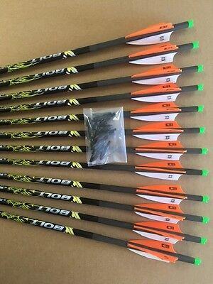 6 VICTORY Crossbow Xbow Bolts 1//2 Dozen CARBON Half Moon Arrows BUCK ADDICTION