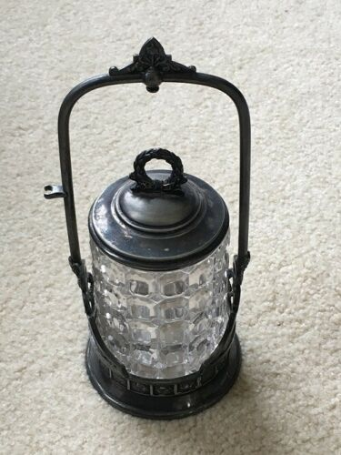 Antique Victorian Reed & Barton Silver Plated Pickle Castor w/ Pressed Glass