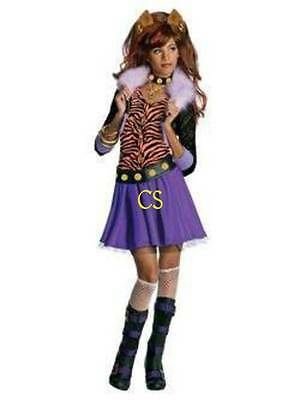 Halloween Monster High Make-up (NWT-Girls 6 Pc Monster High Clawdeen Wolf Halloween Costume, Nail & Makeup Kit-S)