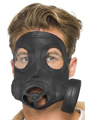 Gas Mask Black Latex Smiffy's Fancy Dress (Fancy Dress Gasmaske)