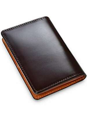Cordovan Business Card Holder Water Dyed Genuine Leather Dark Brown Made In Japa