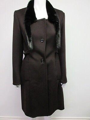 Nwt  YSL,Yves Saint Laurent Women's Brown Fur Collar Coat Jacket size 40 US 8