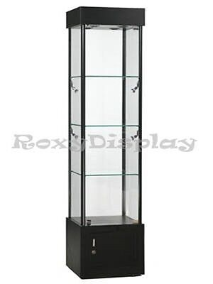 Tower Black Full Vision Showcase Display Assembled With Lights Sc-wl18bk