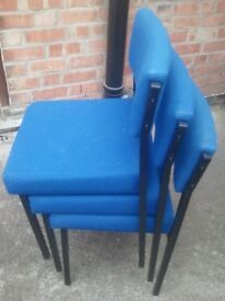 stacking chairs blue upholstery, solid metal frames (Sherwood NG5)