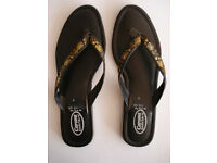 Toe Post Flat Sandals, Black with Gold & Silver thread embroidered V bar
