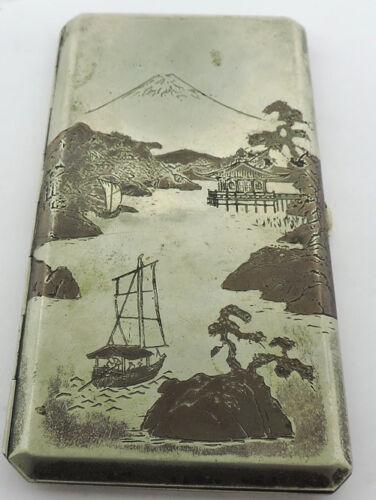 STERLING SILVER  JAPANESE HAND ENGRAVED CIGARETTE CASE OKADA