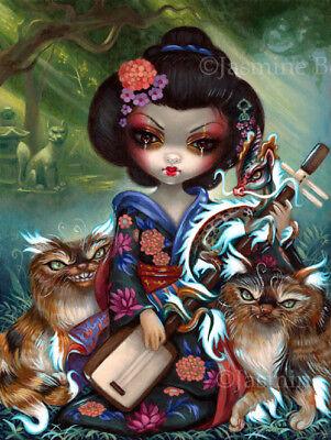 Jasmine Becket-Griffith art print SIGNED Kirin and Bakeneko japan yokai dragon