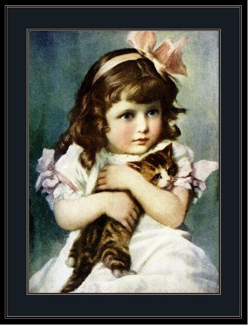 English Picture Print Tabby Cat Kitten Little Girl Vintage Poster Art