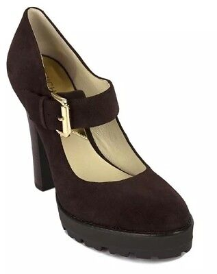 Women Mk Michael Kors Flynn Mary Jane Heel Platform Shoes Suede Coffee Brown