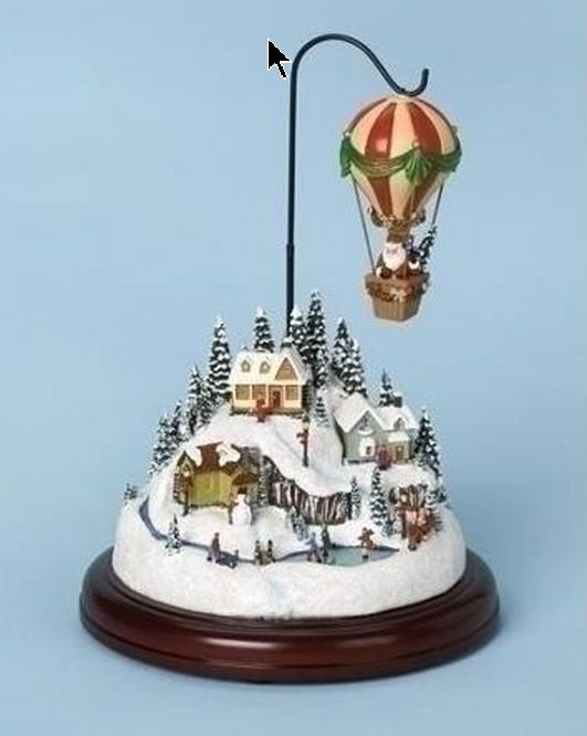 "Christmas 7.5"" Amusements Musical Village Scene w/Rotating Hot Air Ballon Decor"