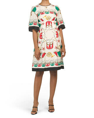 NWT $2595 Dolce & Gabbana Musical Instruments Printed Silk Dress