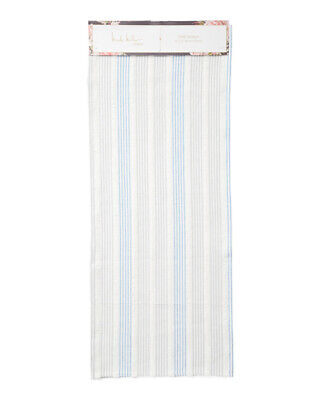 NWT Nicole Miller Blue Gray White Striped Satchi Fringe Table Runner India 14x72 - Blue And White Striped Table Runner
