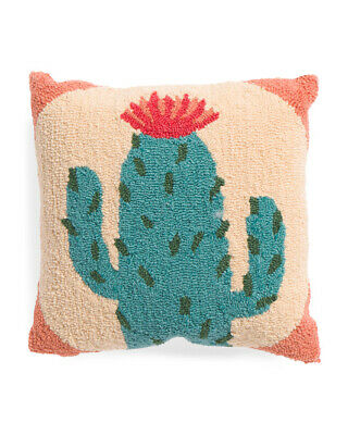 NWT Peking Handicraft Green Cactus Hook Hooked Throw Pillow Square 16