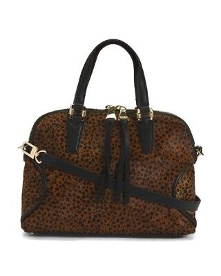 Presley Brown Leather - Aimee Kestenberg Presley Dome Satchel Leopard Haircalf Leather NWT MSRP $248