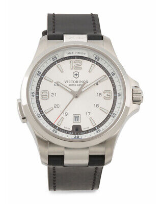 Men's Victorinox 241570 Swiss Army Night Vision Silver Dial Black Leather -