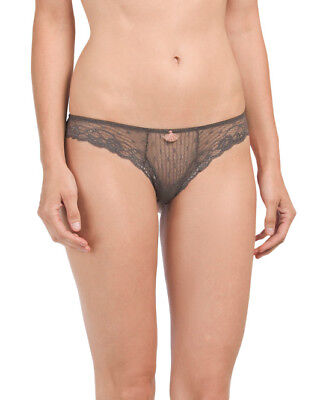 NWT EBERJEY Size Small Francine Low-rise Paneled Lace/Mesh Thong in Tapenade $42 Eberjey Low Rise Panties