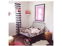Pretty Ikea kids bed frame, Minnen black metal extending, pet/smoke free home, for toddler nursery
