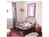 Lovely Ikea Minnen kids bed frame, black metal extending, pet/smoke free home, for toddler nursery