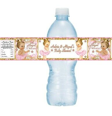 12 Royal Princess Baby Shower Birthday Party Water Bottle Stickers Gold Pink - Royal Princess Birthday Party