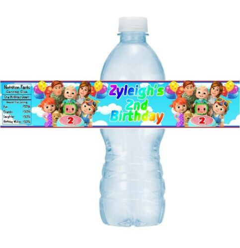 12 Cocomelon Birthday Party Water Bottle Stickers Labels