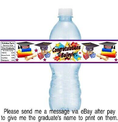 12 Kindergarten Preschool Graduation Party Water Bottle Stickers Diploma Cap