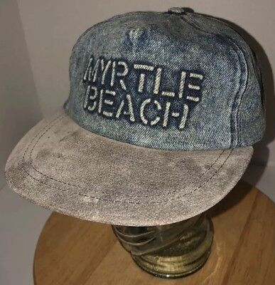 Vintage MYRTLE BEACH 80s 90s DENIM Hat Cap Snapback Strand Headwear Vacation WOW (90s Headwear)