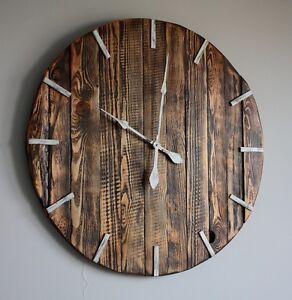 Wand Uhr Holz EKO Ø 80cm, Shabby Chic, Vintage, Industrial, Retro, Rustic Z002
