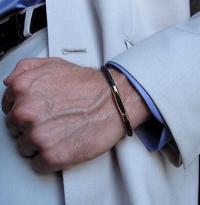Leather Braided Bracelet. Black Adjustable Bracelet. Unisex Mens Gold Bracelet