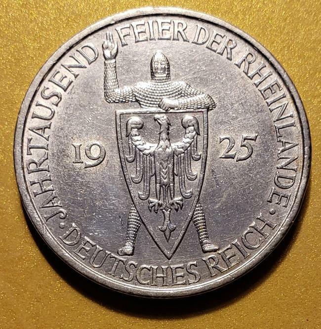 5 Mark 1925-A Germany 1000th Year of the Rhineland Weimar Republic AU