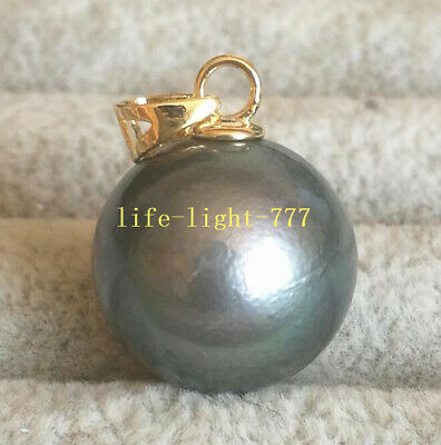 Huge  AAA++  natural 14-13mm black green round Tahitian pearl pendant 14K   Aaa Black Pearl Pendant