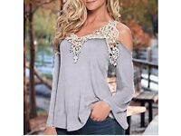 Sexy Lace Hollow Out Off Shoulder Long Sleeve Top