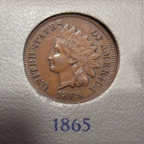 1865 Indian Cent XF+  / AU