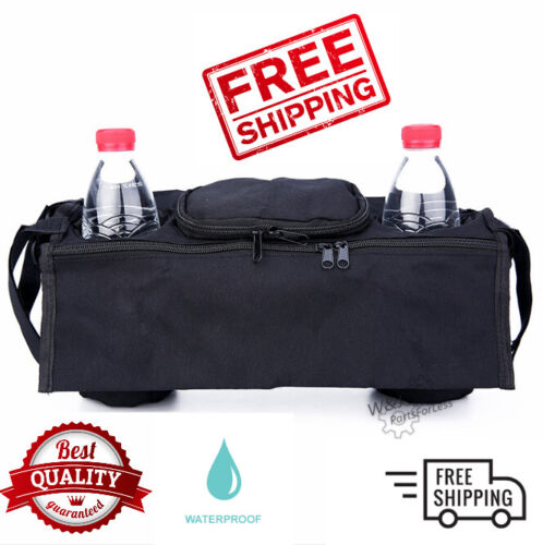 Baby Stroller Organizer Pushchair Safe Console Tray Cup Holder Hanging Bag