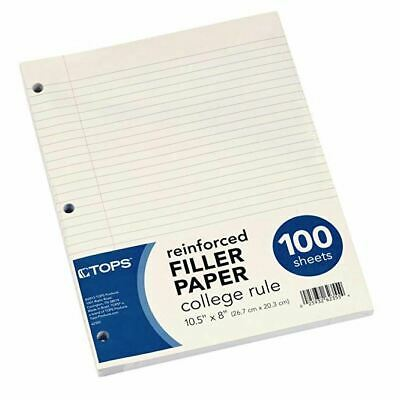 Tops Reinforced Filler Paper College Rule 10-12 X 8 100 Sheets