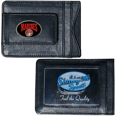 Fine Leather Wallet - U.S. Marine Corps Fine Leather Money Clip ID Card Cash Holder Wallet (Domed)