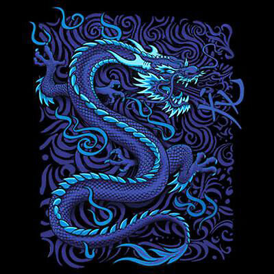 Asian Dragon Art (Blue Dragon Rising Asian Tattoo Style Art Fresh T-Shirt)