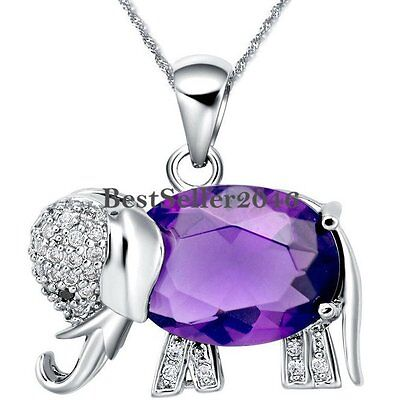 Cute Silver Color Purple / Blue Crystal Elephant Pendant Necklace Birthday Gifts