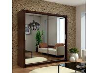 Brand New 2 or 3 Doors Sliding Wardrobes with Mirrors, Shelves, 2 Hanging Rail in Black, Oak & White