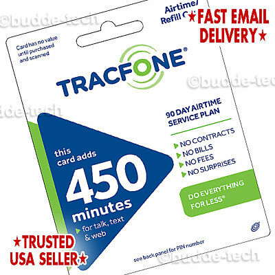TracFone 450 Minutes 90day Plan Service Card Airtime PIN CODE # Data Email Phone (Tracfone Airtime Cards)