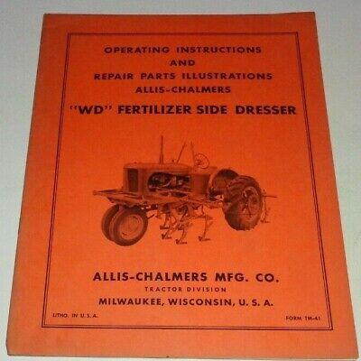 Allis Chalmers Wd Fertilizer Side Dresser Operatorspart Manual Original Tractor