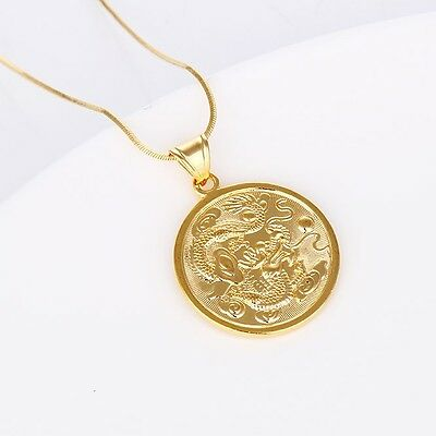 2017 New Mens Dragon Pendant 18K Yellow Gold Filled Fashion Necklace 18 Link