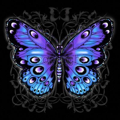 Blue Purple Butterfly Design T-Shirt Tee ()