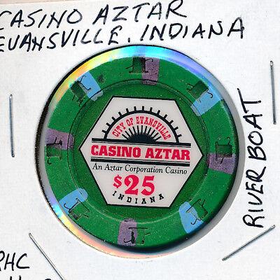 $25 CASINO CHIP - CASINO AZTAR EVANSVILLE, INDIANA RIVERBOAT CASINO RHC H&C