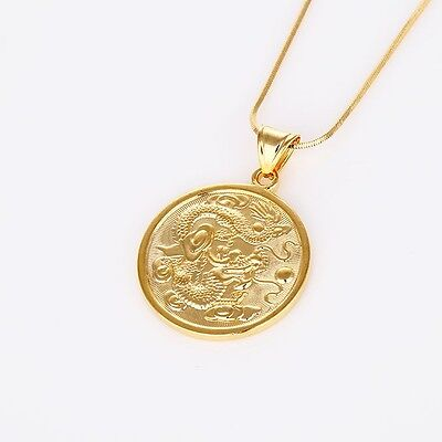 Latest 18K Yellow Gold Filled Dragon Pendant Charms Necklace Hot Jewelry 18 Link